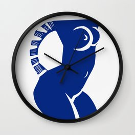 Cubism Nude in blue Wall Clock
