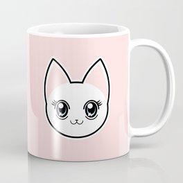 White Anime Eyes Cat Coffee Mug