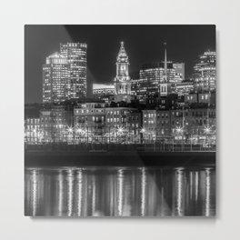 BOSTON North End & Financial District | Monochrome Metal Print