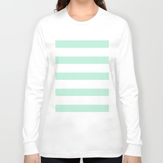 Maritime - Mint green and White stripes-horizontal Long Sleeve T-shirt