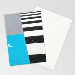 Blue Crossing Graphic Illustration of an Urban Street Photography in Japan Stationery Cards