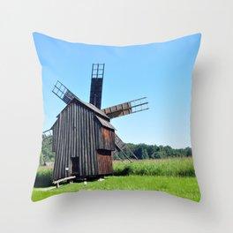 sibiu romania ethno museum wood wind mill Throw Pillow