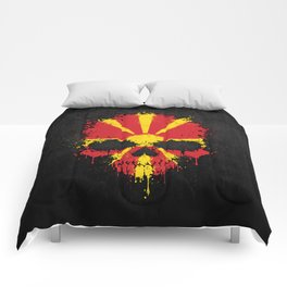 Flag of Macedonia on a Chaotic Splatter Skull Comforters