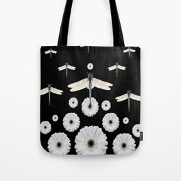 SURREAL WHITE DRAGONFLIES FLOWERS BLACK COLOR PATTERNS Tote Bag