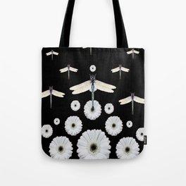 SURREAL WHITE DRAGONFLIES FLOWERS BLACK COLOR PATTERNS Tote Bag