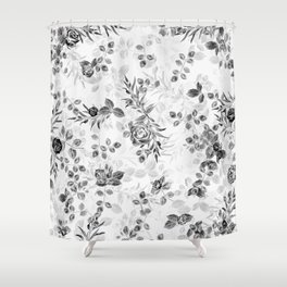 Classic Minimal Floral Watercolor Rose Pattern Shower Curtain