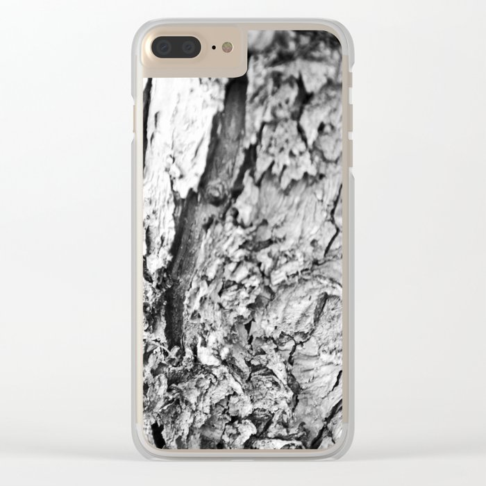 Tree Bark Black and White Clear iPhone Case