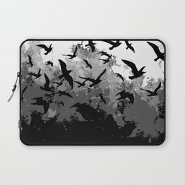 Abstract Black and White birds collage Laptop Sleeve