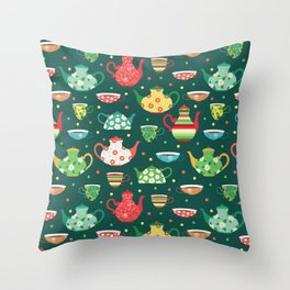 Tea pattern Throw Pillow