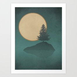 Pine Tree Island Lake: Full Moon Night Art Print