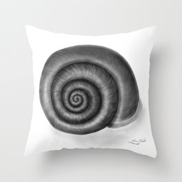 Snail shell, painted with graphite Throw Pillow