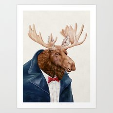 Moose in Navy Blue Art Print