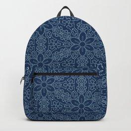 Damask flower motif sashiko stitch pattern. Backpack