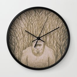Sasquatch in the woods Wall Clock