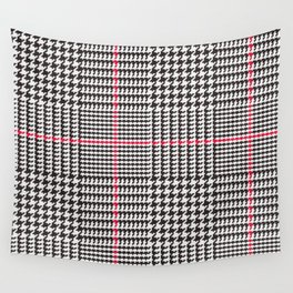 Black and White Glen Plaid with Red Stripe Wall Tapestry