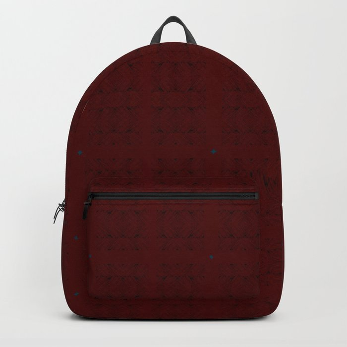 Dark Black and Red Romantic Plaid Backpack