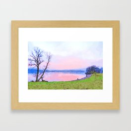Calm Pink Sunset over Lake Windermere, Lake District, England Watercolor Painting Framed Art Print