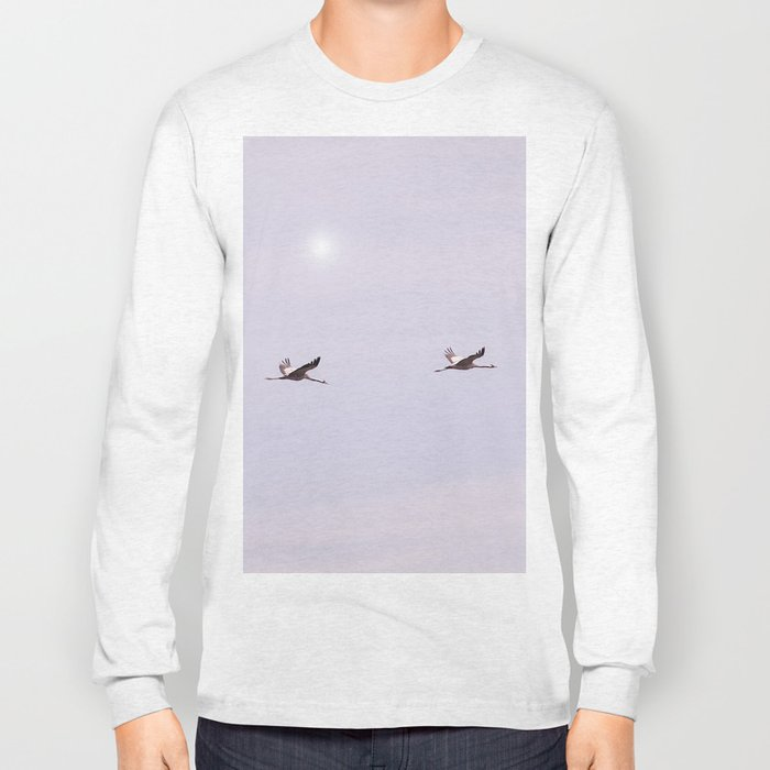 Cranes in Flight #decor #society6 #buyart Long Sleeve T-shirt