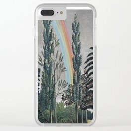 Stormy Sky with Rainbow and Foliage (Lake Daumesnil by Henri Rousseau circa 1898) Clear iPhone Case