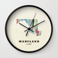 maryland Wall Clocks featuring Maryland state map modern by bri.buckley