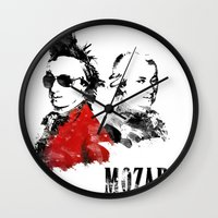 mozart Wall Clocks featuring Mozart Punk by viva la revolucion