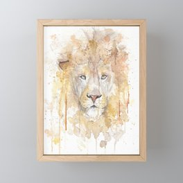 """Watercolor Painting of Picture """"African Lion"""" Framed Mini Art Print"""