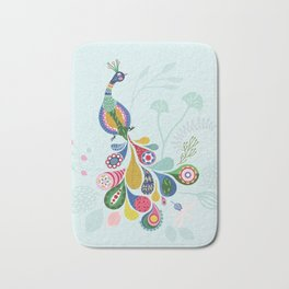 Boho-style peacock on mint green background Bath Mat