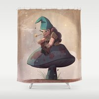 gnome Shower Curtains featuring Gnome Away From Home by Dave Bardin
