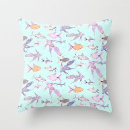 Pretty patterned fish Throw Pillow