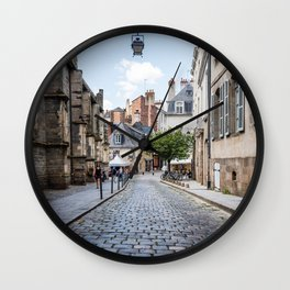 Cobblestoned street in historic centre of Rennes, France Wall Clock
