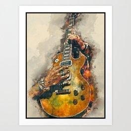 slash's electric guitar, guitar wall art, studio decor, music room decor, gift for guitarists Art Print