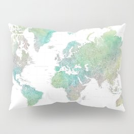 """Highly detailed watercolor world map, """"Oriole"""" Pillow Sham"""