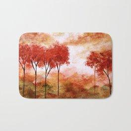 Burning Promise, Red Trees Landscape Art Bath Mat
