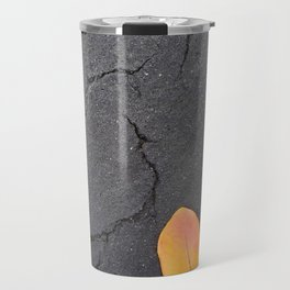 Red Orange Leaf on Cracked Black Pavement Travel Mug