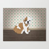 english bulldog Canvas Prints featuring English Bulldog by The Labs & Co.