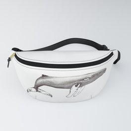 Humpback whale black and white ink ocean decor Fanny Pack