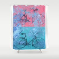 bikes Shower Curtains featuring My colorful bikes by Fernando Vieira