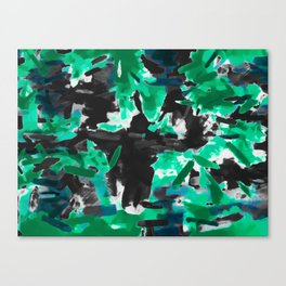 psychedelic vintage camouflage painting texture abstract in green and black Canvas Print