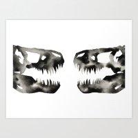 trex Art Prints featuring Inkblot Trex Dinosaur by GeometricInk