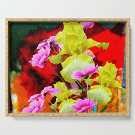 MODERN ABSTRACT YELLOW IRIS & PINK FLOWERS FLORAL Serving Tray
