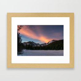 sunrise on an ice lake Framed Art Print
