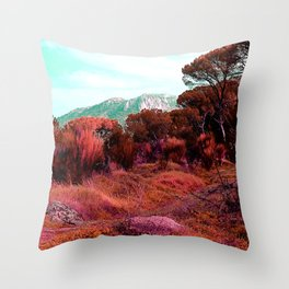 Red bright pink and orange alien landscape Throw Pillow