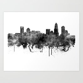 Charlotte skyline in black watercolor Art Print