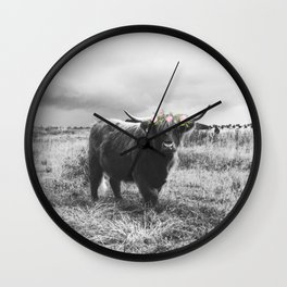 Black and White Floral Ox Wall Clock
