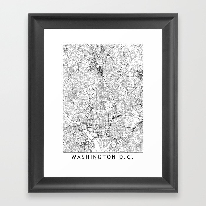 Washington D.C. White Map Gerahmter Kunstdruck