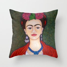 Frida portrait with dalias Throw Pillow