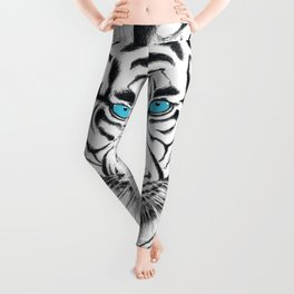 White Bengal tiger Blue Eyes Ink Art Leggings