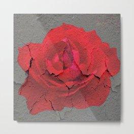 SHABBY CHIC RED ROSE GARDEN  GREY ART Metal Print
