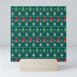 Ugly Christmas Trees Sweater Pattern Mini Art Print