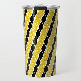 Golden Yellow and Black Stripes Travel Mug